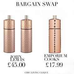 Bargain Swap: Hammered Copper Pepper & Salt Mill – Chic Living Clique Hammered Copper, Pepper, Salt, Chic, Shabby Chic, Salts, Elegant, Capsicum Annuum