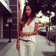 Song of Style blogger Amy Song in 7FAM's The Skinny in Papyrus in High Gloss Snake #7After7 #7FAM