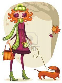Shopping girl stravagante con bassotto nel parco autunno. Archivio Fotografico - 10363872