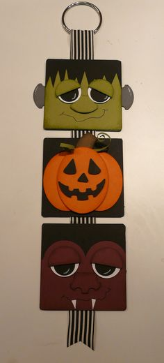 Had an Open Stamp class last night. Started working on a Halloween Banner. Of course, what the girls saw last night is totally different of what the final product is! This was made with 4 x 4 coasters. Halloween Paper Crafts, Manualidades Halloween, Halloween Banner, Halloween Signs, Halloween Projects, Halloween Cards, Holidays Halloween, Fall Crafts, Holiday Crafts