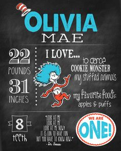Custom Birthday Chalkboard Digital File- Thing One & Thing Two for Twins- the Cat in the Hat on Etsy, $35.00