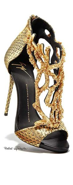 ~Guiseppe Zanotti Gold Coral Stiletto | The House of Beccaria