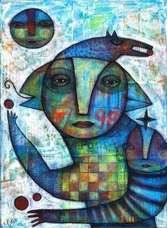 "Dan Casado ""Mother in Blue"" Original Painting on Wood"