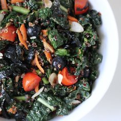 A Kale, Quinoa, and Blueberry Superfood Salad Both, kale and quinoa are jam-packed with nutrients like vitamins A, C, and K (kale) and healthy fats, protein, and fiber (quinoa), making the combination a healthy and filling lunch option.