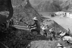 "Henri Cartier-Bresson CHINA. The ""Great Leap Forward"". 1958. This gigantic Sanmenshia Dam is being built on the Yellow River by 7000 permanent workers plus innumerable volunteers."