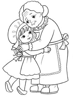 little girl and her grandmother. Coloring page for kids (illustration of Little Red Riding Hood). Camping Coloring Pages, Cute Coloring Pages, Coloring Sheets, Coloring Books, Red Riding Hood Party, Princess And The Pea, Art Drawings For Kids, Grandparents Day, Hand Embroidery Patterns