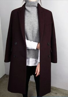 Classic Maroon Double Breasted Wool Coat, Soft Grey Turtleneck, White Cotton Shirt, Black Trousers.