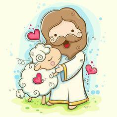 Lord Is My Shepherd Framed Art Print by Hi-deer - Vector Red - Jesus Cartoon, Bible Cartoon, Framed Art Prints, Canvas Prints, Canvas Art, La Sainte Bible, Bibel Journal, Lord Is My Shepherd, Bible Stories