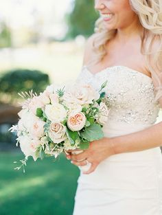 Garden-Inspired Arizona Wedding, Lush Bouquet with Roses, Lisianthks, and Jasmine | Brides.com