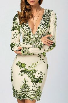 $22.60 Sequined Embroidery Patched Sheath Dress