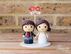 Spiderman groom and bride wedding cake topper by Genefy Playground. https://www.facebook.com/genefyplayground