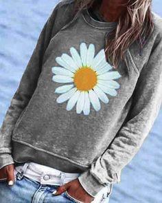 CA$ 39.57 - Casual Floral Printed Crew-Neck Top - m.dressisi.com