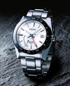 Seiko Ananta, Spring Drive GMT Watch, with 30 jewels and stainless steel band and black accent, SNR019  www.SeikoUSA.com