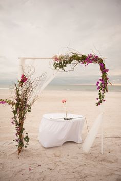 Whimsical Purple Bougainvillea Wedding Arch