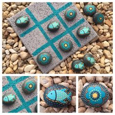Tic Tac Toe with Painted Stones Stone Crafts, Rock Crafts, Diy And Crafts, Arts And Crafts, Pebble Painting, Pebble Art, Stone Painting, Craft Gifts, Diy Gifts