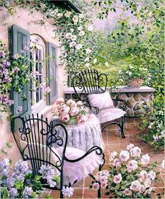 CarolArt ✽ Paintings and Video : Romantic Garden Cottage - Susan Rios Fairytale Cottage, Garden Cottage, Rose Cottage, Cottage Style, Romantic Cottage, Fairytale Bedroom, Cottage Porch, Storybook Cottage, Romantic Roses