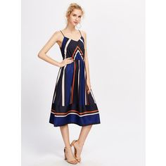 SheIn(sheinside) Color Block Striped Panel Cami Dress