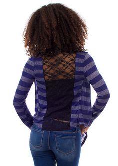 9.98 Stripe Open Cardigan (Blue)