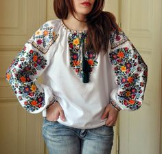 Flower women's embroidered blouse Ukrainian embroidery Blouse for spring Ethnic blouse Flower Vyshyvanka shirt Blouse Ethnique, Folk Fashion, Womens Fashion, Ethno Style, Bohemian Mode, Tulle Fabric, Cotton Fabric, Flower Shirt, Shirts