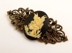 Large barrette with fairy in black bronze fantasy by Schmucktruhe