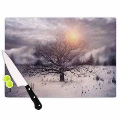 "Viviana Gonzalez ""Lone Tree Love II"" Orange White Cutting Board"