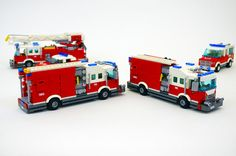Fire Engines by Jason Skaare Lego City Sets, Lego Sets, Lego Ambulance, Lego Bathroom, Transporter Van, Lego Fire, Lego Truck, Lego Army, Volunteer Gifts