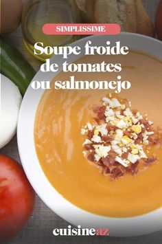 Le salmonejo est une soupe froide à base de mie de pain, ail et tomates. #recette#cuisine #soupe #soupefroide #salmonejo Cantaloupe, Grains, Rice, Pudding, Desserts, Cream Soups, Tailgate Desserts, Deserts, Custard Pudding