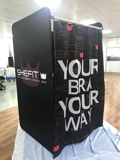 We offer custom printing on all parts of our Portable Dressing Rooms. You can customize the inside of the room, outside walls and curtain if needed 💡 Call us and let us help you with a quote on a custom room for your business today! Portable Dressing Room, Dressing Rooms, Custom Printing, Changing Room, Trade Show, Sport Outfits, Walls, Quote, Business