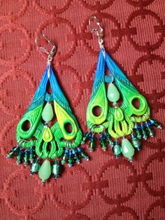 | Polymer Clay Peacock Chandelier Earrings with ... | cute things with ...