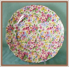 A lovely James Kent Chintz China Luncheon Plate Apple Blossom from Cobayley Vintage on Ruby Lane