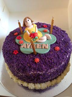 Ube macapuno cake with fondant topper