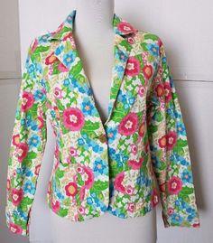 Womens M New Identity Blazer Green Floral Embellished Button Slim fit  #NewIdentity #Blazer