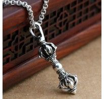 """Men's Sterling Silver Pestle Pendant Necklace with Sterling Silver Rolo Chain 18""""-24"""""""