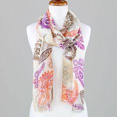 Global Glam Bright Paisley Scarf, Purple/Orange at Cost Plus World Market