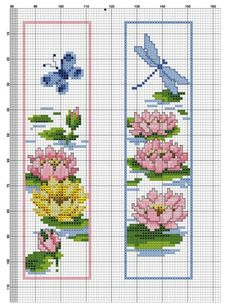 dragonfly and butterfly Cross Stitch Books, Cross Stitch Bookmarks, Crochet Bookmarks, Cross Stitch Love, Cross Stitch Pictures, Beaded Cross Stitch, Cross Stitch Flowers, Cross Stitch Designs, Cross Stitch Embroidery