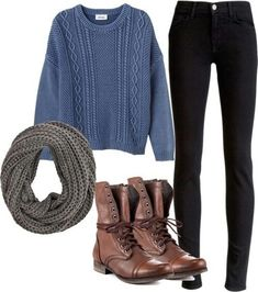 Cable knit sweater fall outfit idea