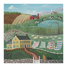 Peaceful Country SUMMER LANDSCAPE PRINT - Airing the Quilts - an Original Signed Folk Art Print by Wendy Presseisen - Colorful Charm