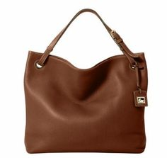 $335.00-$375.00 A Dooney & Bourke Grommet Sac is large sized and made of bark brown genuine portofino pebbled leather . This tote is perfect as a  shopper, weekend getaway, for traveling, or  used as a laptop bag, book bag, or you decide. It is the perfect way to treat yourself from the work weeks to fun-filled weekends and can be used for so many things.  Holds your wallet, sunglasses, personal te ...