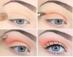 peachy pink eyes step by step