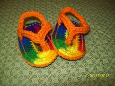 Crocheted Rainbow Infant Sandals by jamyescreations on Etsy, $5.00