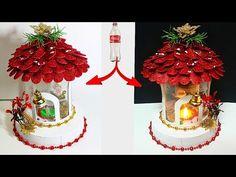 DIY: New Design Showpiece/lantern made from waste Plastic Bottle Plastic Bottle Flowers, Plastic Bottle Crafts, Plastic Bottles, Recycled Bottles, Christmas Lanterns, Christmas Crafts, Christmas Ornaments, Barbie Dolls Diy, Diy Doll
