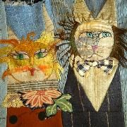 """""""Mangy Me ... by Jude Hill"""" :: Jude is a phenomenal textile artist ... her quilt work I've seen has included hearts, very """"involved,"""" intricate stitchery. This is a new and unique one to me, and I love it!"""