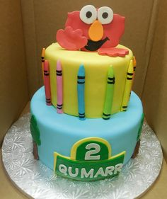 Calumet Bakery  Elmo with crayons two tier cake