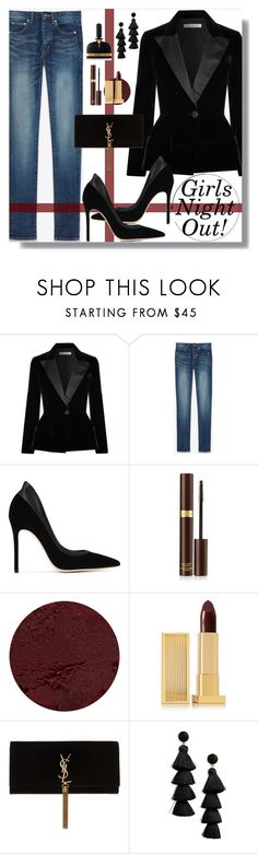 """""""Fall Night Life: Girls Night Out"""" by loewenangel ❤ liked on Polyvore featuring Oscar de la Renta, Yves Saint Laurent, Gianvito Rossi, Tom Ford, Lipstick Queen, BaubleBar, black, velvet, girlsnightout and untamedfashion"""