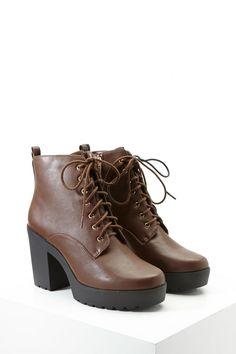 Faux Leather Platform Booties