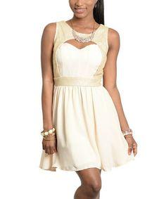 Cream & Gold Cutout Sweetheart Dress #zulily #zulilyfinds