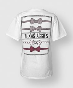 This fabulous one of a kind tee features a maroon block ATM on the front left side and four different Texas A & M themed bowties on the back