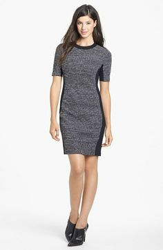 Well placed black accents. Tweed & Ponte Knit Dress (Regular & Petite)   Nordstrom