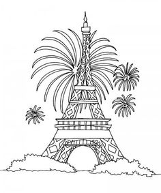 Eiffel Tower Coloring Pages Free