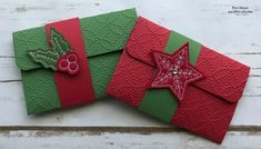 Easy Christmas Gift Card Holders using Stampin Up Stitched Felt Embellishments and Quilt Top Textured Embossing Folder